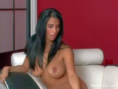 Big titted brunette Jaime Hammer playing with her twat