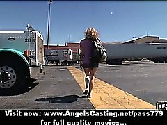 Amateur blonde lesbian couple undressing and tits massage in the car