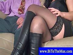Mature couple seduces a bisexual boy