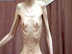 Kinky skinny bony babe with anorexia posing