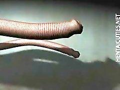 Hentai slaaf in tentakels nemen dick