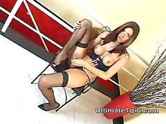 Latina Tgirl Licks Her Nipples