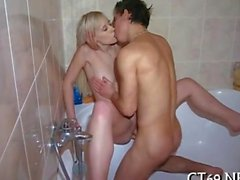 blonde gets fucked hard from the back doggy style
