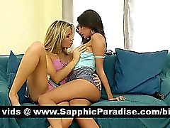 Angelic brunette and blonde lesbians kissing and licking
