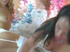 Lesbiennes de Noël Lesbiennes dans Lingerie Léchage de chatte