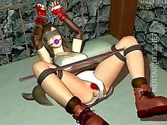Hottie 3D hentai slaaf krijgt harde genageld