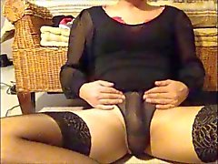 Wanking in Black Sheer Panties