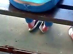 Girls heels'n'soles during waiting