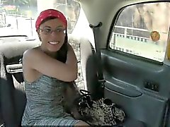 Ebony girl shows off ass and fucked in the backseat of a cab