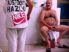 Daddy Shaving In Bath House