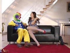 Strümpfe ho Clown gefickt