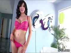 Damn hot tranny vixen Sarina Valentina pops out her big tits and jerks off