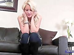 ball busting blonde spits
