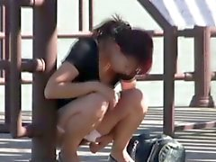 Hot japanese chick pees in public