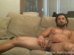 Muscle Bearded Man Cums en cámara