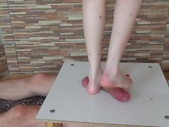 Cruel barefeet cock and balls trampling crushing and brutal stomping