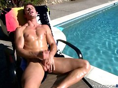 Kevin Crows jerks off with his feet and cums all over them
