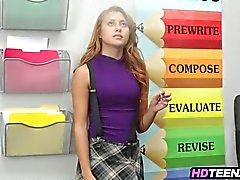 Hot blonde schoolgirl caught smoking fucks her teacher