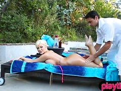 Busty MILF trophy wife fucked by her younger masseuse