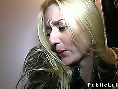 Hot blonde pussy and throat fucked in public basement