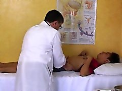 Asian twink squirts enema in doctors office