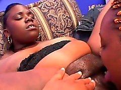 Ebony BBW lesbian pussy licked and dildo fucked