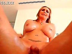 Sexy blonde MILF rides a dick like a lunatic