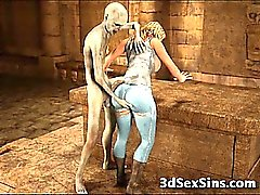 De 3D de Zombis Inserting En pechugona adolescente de !