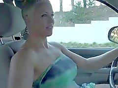 Blonde Short Hair Milf Dildoing in Her Car BVR