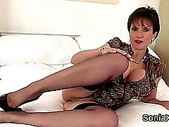 Unfaithful british milf lady sonia flashes her oversized tit