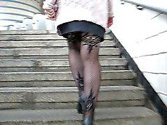 New fishnet stockings upskirt