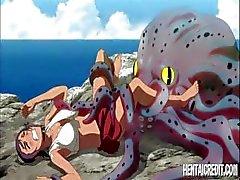 Bedrieglijke hentai jonkvrouw met een breekbare fuzzy ronde bot doet wat geheime diensten voor een octopus