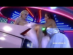 Hot lesbian bride licked on the hood of a car