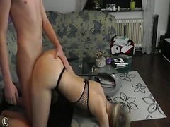 Blonde girl dazzles in fish-net one-piece fuck doggystyle