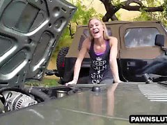 Foxy blonde babe trying to sell her car at the pawn shop