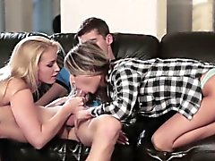 Stunning stepmoms threeway with innocent teen