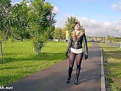 Jeny Smith la moda del pantyhose lampeggiante comune