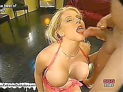 Melanie and her friend clean each other's jizzed faces