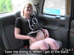 Blonde masturbates in backseat in cab then fucks