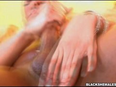 American ebony t-girl big dick takes off bra and thong cock