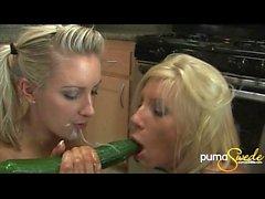 Puma Swede Gets Messy Med Hot Blonde & Some Vegetables In Kitchen!