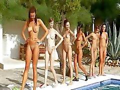 Zes naakte meisjes bij het zwembad uit duitsland