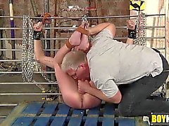 Sebastian uses hard sex toys on slave while chained and tied