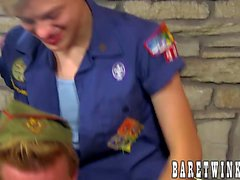 Good looking twink scout ass drilled by two butt buddies