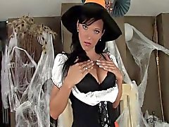 Babe in a costume and lingerie for Halloween