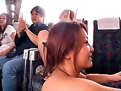 Japanese babes showing nice tits in a bus and banging some