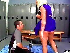 Busty tanned blonde in cheerleader uniform gets her big ass licked