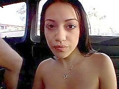 Little brunette fucked and facialized in the bus