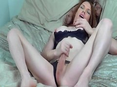 TS Destiny jerking her hard cock, cum shot!!