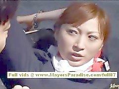 Chihiro Hara Naughty Aziatische Moidel is vastgebonden in de gevangenis en krijgt een sex- trein